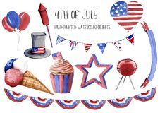 Hand painted watercolor illustration 4th of july independence da. Y holiday celebration set of objects hat, balloon, muffin, star, bbq, heart, garland with vector illustration