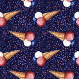 Hand painted watercolor illustration 4th of july independence da. Y holiday celebration seamless pattern American flag ice cream blue red stars dark blue stock illustration
