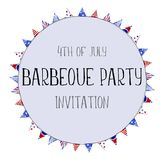 Hand painted watercolor illustration 4th of july independence da. Y holiday celebration bbq barbeque party invitation frame circle banner Royalty Free Stock Photos
