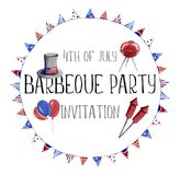 Hand painted watercolor illustration 4th of july independence da royalty free illustration