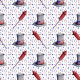 Hand painted watercolor illustration 4th of july independence da. Y holiday celebration seamless pattern hat fireworks stars blue red white background Stock Images