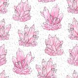 Hand painted watercolor and ink pink cluster crystals seamless pattern on the white starry background. Rose quartz geode minerals and gemstones illustration royalty free illustration