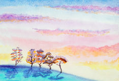Hand painted watercolor landscape Stock Images