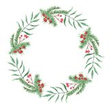 Watercolor Foliage Wreath Winter Red Berries Leaves Festive Frame. Hand Painted Watercolor leaves and berries in frame border wreath, Christmas Holidays garland Stock Photo