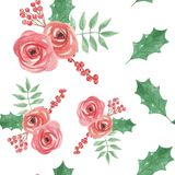 Watercolor Floral Flowers Holidays Christmas Green Red Holly Seamless Pattern. Hand Painted Watercolor Leaves and flowers in in red and green seamless patterns Royalty Free Stock Photography