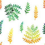 Hand painted watercolor leaves seamless floral pattern vector background. Leaf and flowers botanical pattern. Royalty Free Stock Photo
