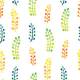 Hand painted watercolor leaves seamless floral pattern vector background. Leaf and flowers botanical pattern. Royalty Free Stock Image