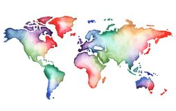 Hand painted watercolor world map. Hand painted watercolor map of the world, rainbow colors, isolated on white royalty free illustration