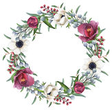 Hand-painted Watercolor Mixed Flowers Wreath Stock Photos