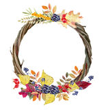 Hand painted watercolor mockup clipart template of autumn leaves Royalty Free Stock Image