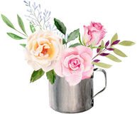 Hand painted watercolor mockup clipart template of roses Stock Photography