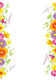 Hand painted watercolor mockup clipart template of wild flowers Royalty Free Stock Photo