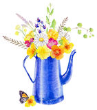 Hand painted watercolor mockup clipart template of wild flowers royalty free illustration