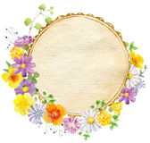 Hand painted watercolor mockup clipart template of wild flowers stock illustration