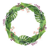 Hand-painted Watercolor Monstera And Banana Leaves Wreath Stock Image