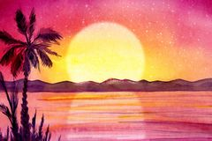 Watercolor painted panorama with palm trees. vector illustration