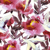 Hand painted watercolor peonies and crane birds. Peony and crane bird seamless pattern. Peonies and crane birds on white background. Hand painted watercolor Royalty Free Stock Images