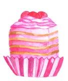 Watercolor pink cupcake stock photography