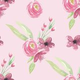 Watercolor Pink Berries Floral Leaves Flowers Seamless Patterns. Hand Painted Watercolor pretty Floral Leaves Flowers Seamless Patterns. Digital Papers created Royalty Free Stock Photography