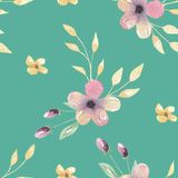 Watercolor Teal Flowers Pink Leaves Green Floral Seamless Patterns. Hand Painted Watercolor Purple pretty Floral Leaves Flowers Seamless Patterns. Digital Papers Royalty Free Stock Photos