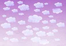 Hand painted watercolor purple sky and white clouds Stock Photo