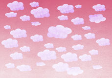 Hand painted watercolor purple sky and white clouds Stock Photos