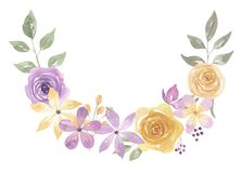 Watercolor Arch Leaves Floral Berries Buds Arrangement Purple Yellow. Hand Painted Watercolor purple and yellow Spring time floral arrangement. Pastel colours royalty free illustration