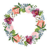 Hand-painted Watercolor Roses, Anemones And Peonies Wreath Stock Photography