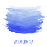 Hand painted watercolor sea. Nautical blue abstract background. Design element for vacation flyer, birthday or business card, wedding or baby shower invitation Royalty Free Stock Photos