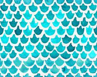 Hand painted watercolor seamless mermaid fish tail pattern with turquoise scales. Abstract modern background, illustration. stock illustration
