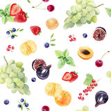 Hand painted watercolor seamless pattern with fruits and berries. Beautiful hand painted watercolor seamless pattern texture of spring summer fruits and berries Stock Photo