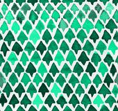 Hand painted watercolor seamless pattern with light and dark green triangle trees. Abstract modern background, illustration. royalty free illustration