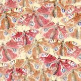 Hand painted watercolor seamless pattern of peacock butterfly clipart on beige background. Boho style nature