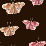Hand painted watercolor seamless pattern of peacock butterfly clipart on dark background. Boho style nature illustration