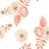 Watercolor Flowers Leaves Berries Painted Seamless Pattern Autumn Fall Stock Photos