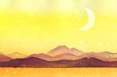 Watercolor painted mountain silhouettes royalty free stock photos