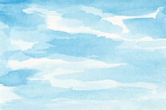 Hand painted watercolor sky and clouds, abstract watercolor background, scanned illustration.  stock illustration