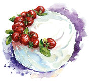 Hand painted watercolor strawberry cake. Vector illustration. Stock Photos