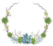 Hand-painted Watercolor Succulents Wreath