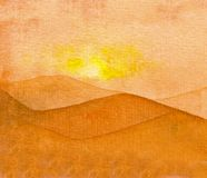 Watercolor of a sunset over a desert. stock illustration