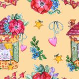 Hand painted Watercolor Sweet seamless pattern. Watercolor Sweet seamless pattern.  Cute pig, flowers, heart and garland. Perfect for card, decor and invitation stock image