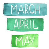 Hand painted watercolor tablets with spring months. March, April, May. Made in vector stock illustration