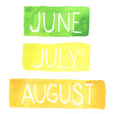 Hand painted watercolor tablets with summer months. June, July, August. Made in vector vector illustration