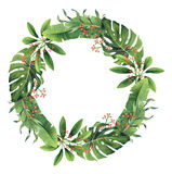 Hand-painted Watercolor Tropical Leaves And Berries Wreath Royalty Free Stock Images