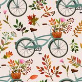 Hand painted watercolor tropical pineapples.Cute bikes and colorful fall leaves. royalty free illustration
