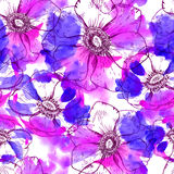 Hand painted watercolor vector anemone seamless. Pattern background vector illustration