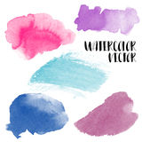 Hand painted watercolor wash spots. Vector aquarelle backgrounds Royalty Free Stock Photos