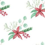 Watercolor Flowers Leaves Berries Seamless Repeat Pattern. Hand Painted Watercolor Winter Festive, Christmas Repeat Pattern Royalty Free Stock Image