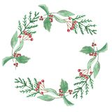 Watercolor Winter Christmas Red Green Leaves Berries Festive Wreath Border. Hand Painted Watercolor Winter Wreath, Christmas Garland Stock Image