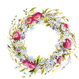 Hand painted watercolor wreath. Stock Images